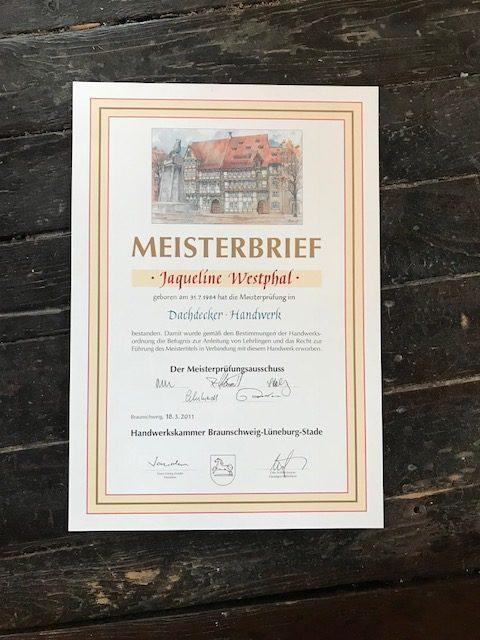 Meisterbrief Dachdeckerin Jaqueline Gerschler 2011